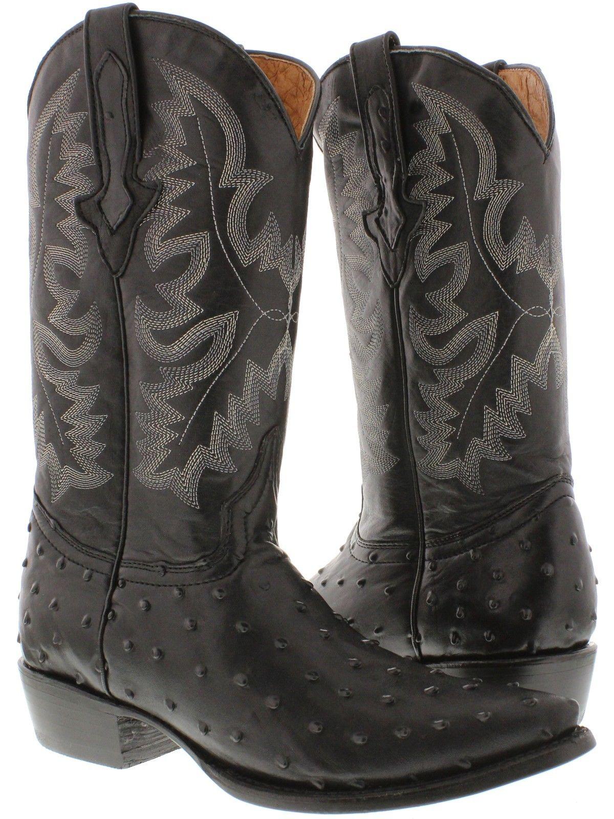 7fb754929f5 Mens Black Ostrich Quill Print Leather Cowboy Boots Western Wear ...