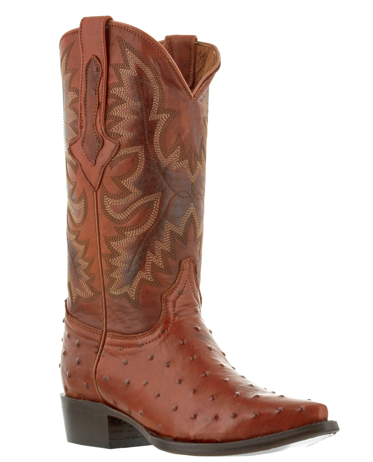mens cognac brown ostrich exotic crocodile western leather ...