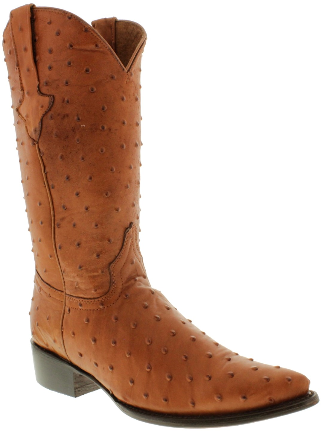 429bef541f5 Mens Brown Full Ostrich Print Leather Western Wear Cowboy Rodeo ...
