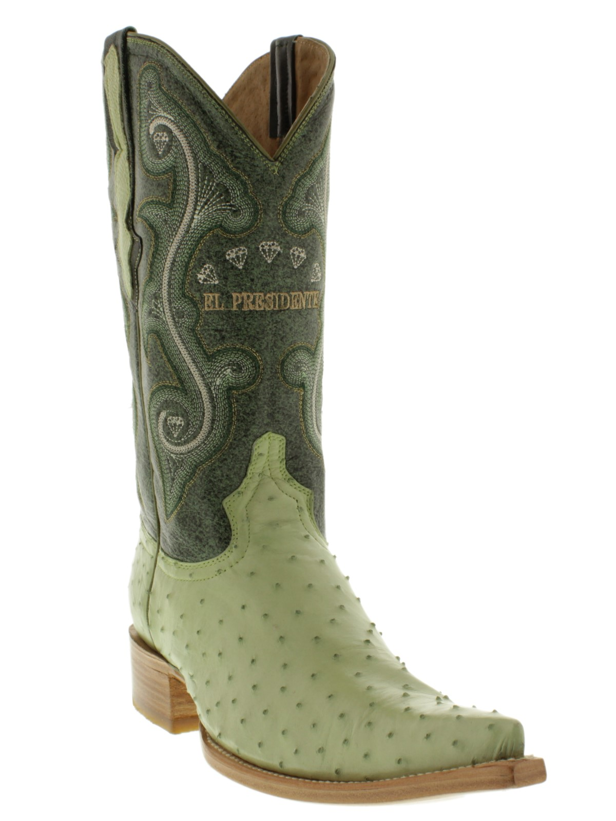 85136eecae2 Mens Authentic Ostrich Green Western Leather Cowboy Boots Pointed ...