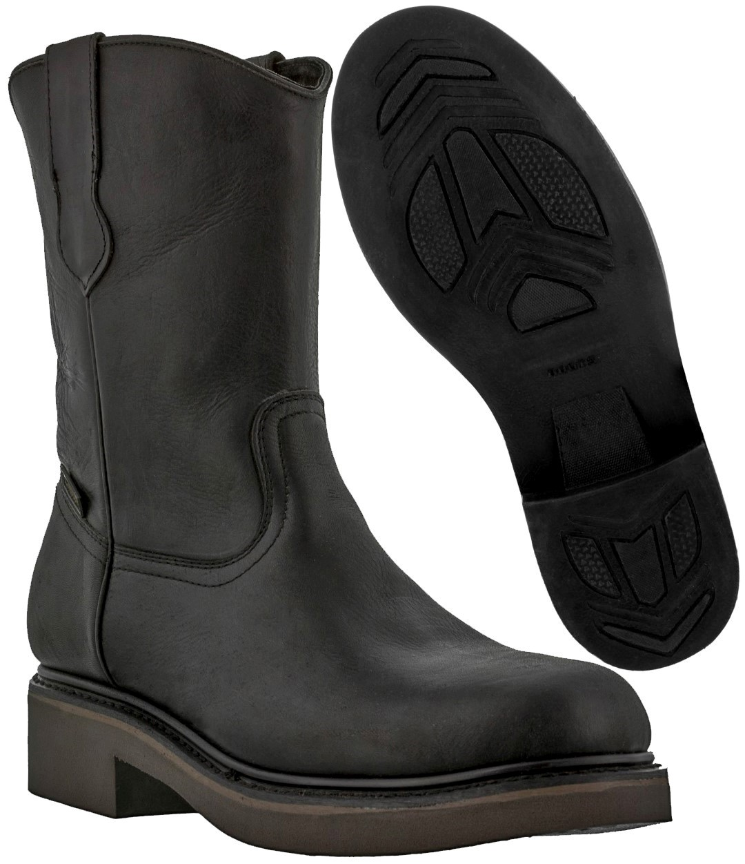 Men's Black Leather Pull On Work Boots