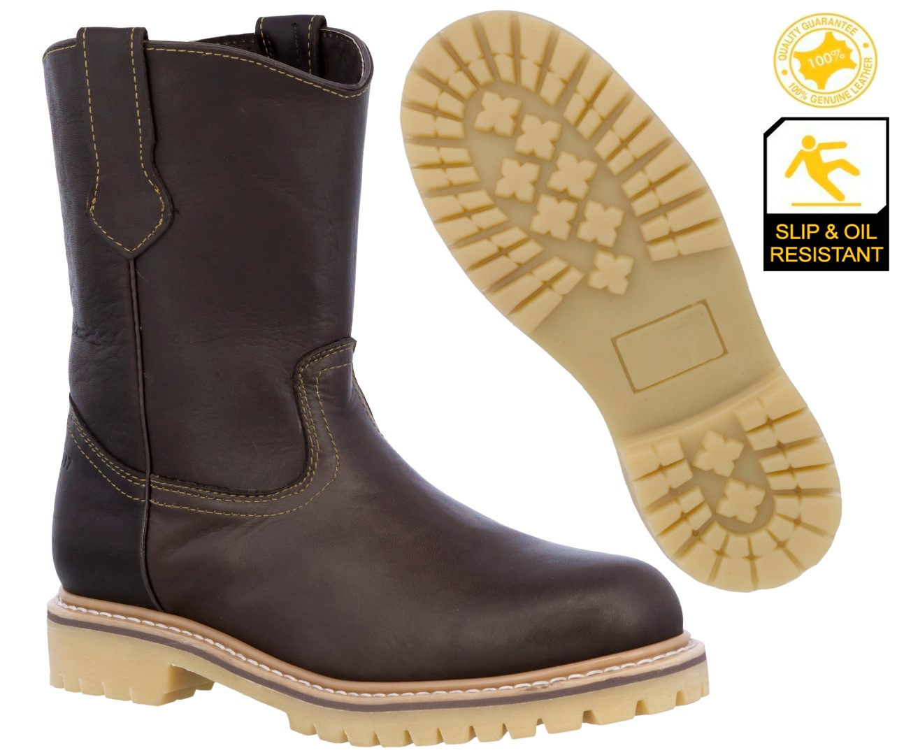 Image is loading Mens-Brown-Leather-Tough-Durable-Construction-Work-Boots- cff7477e8e61
