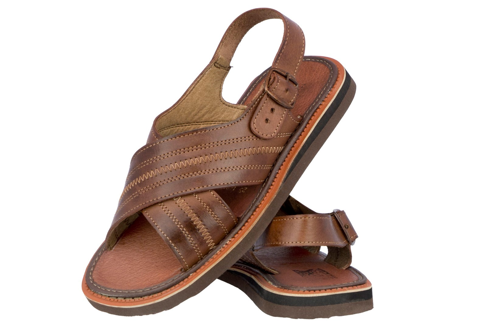 280978122c6622 Men s Genuine Leather Sandals Brown Stitched Straps Classic Mexican ...