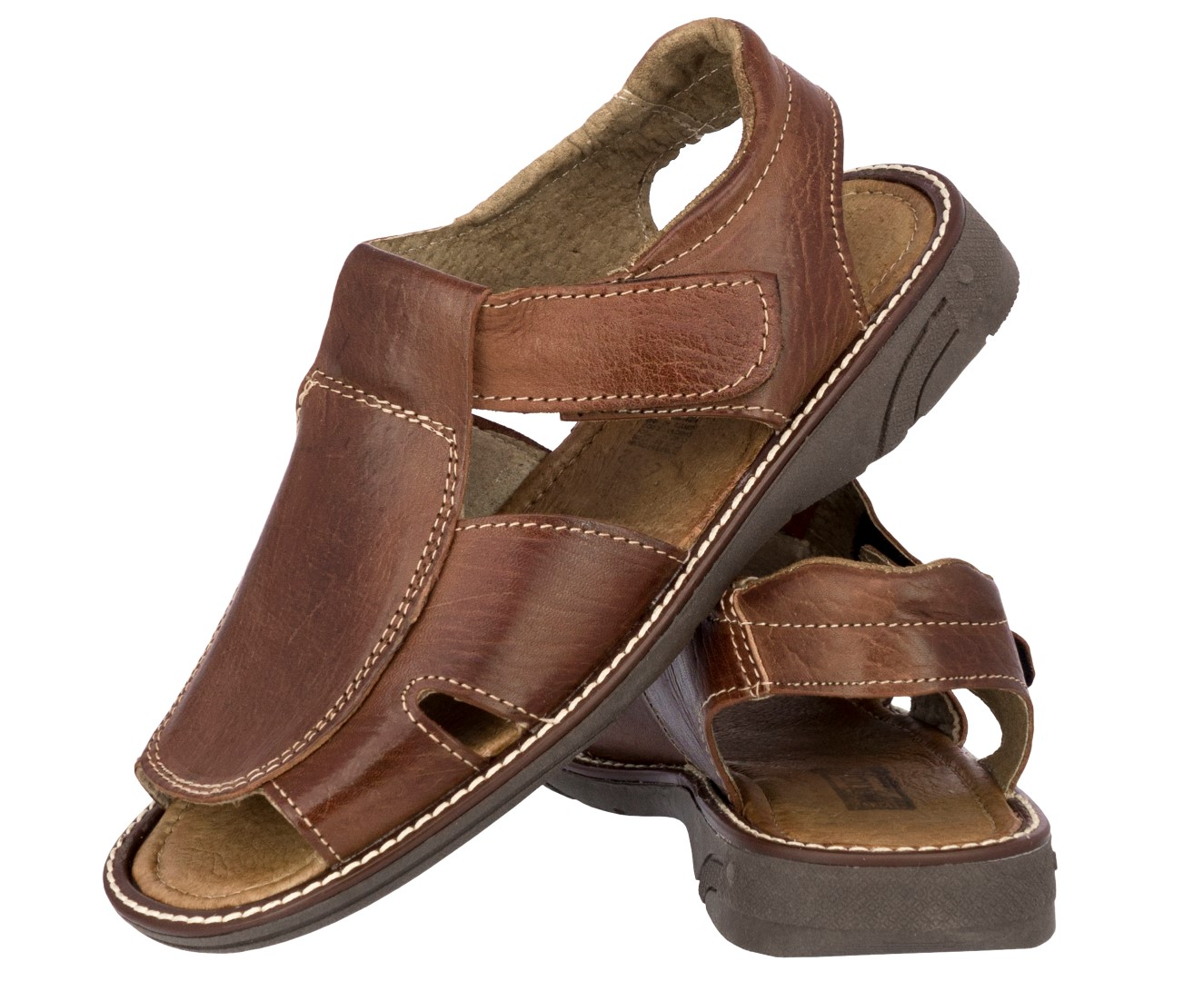 Mens Cognac Real Leather Fisherman Sandals Authentic Mexican Huaraches