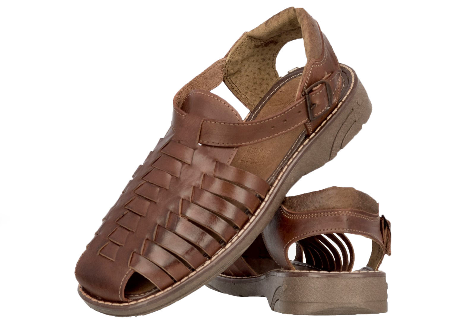 257506607332f8 Men s Traditional Hand Woven Mexican Huaraches Genuine Leather Brown ...