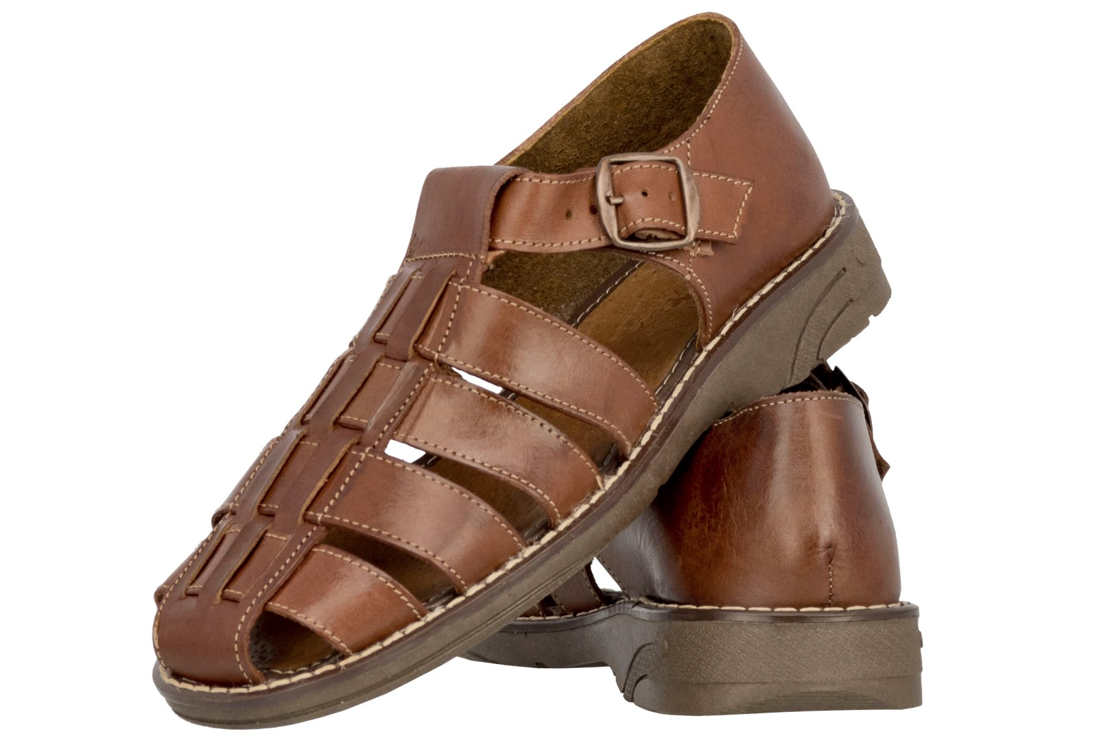 5e0c531f010 Mens Genuine Cognac Brown Leather Mexican Huaraches Buckle Sandals ...