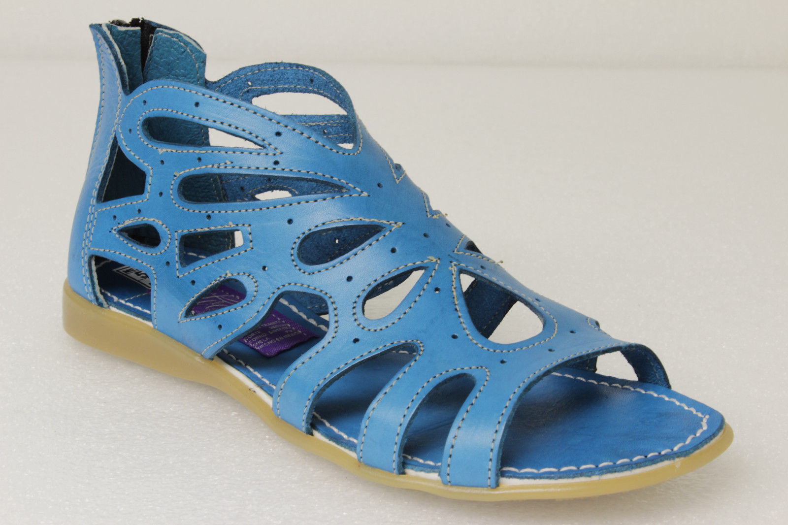 a1b02b43f Womens Blue Mexican Huaraches Genuine Leather Zip Up Ankle Sandals ...