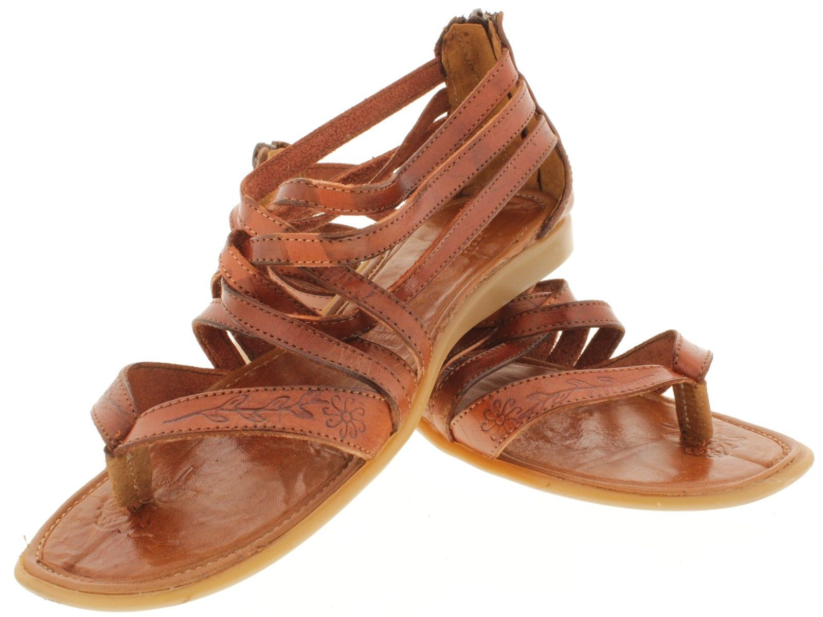 5b9e7cb83da58 Womens Genuine Leather Cognac Boho Sandals Zipper Mexican Huaraches ...