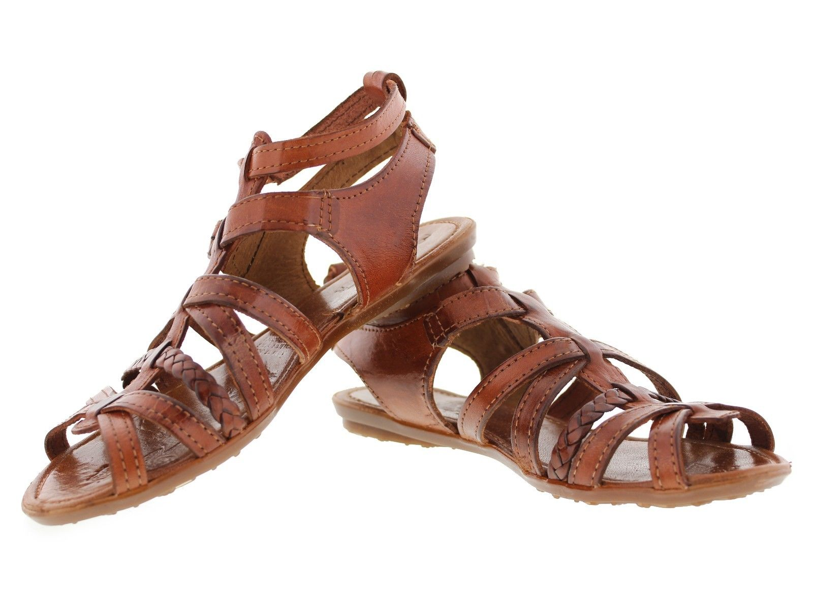 Womens Boho Sandals Rust Brown Genuine Leather Buckle Up Mexican Huaraches
