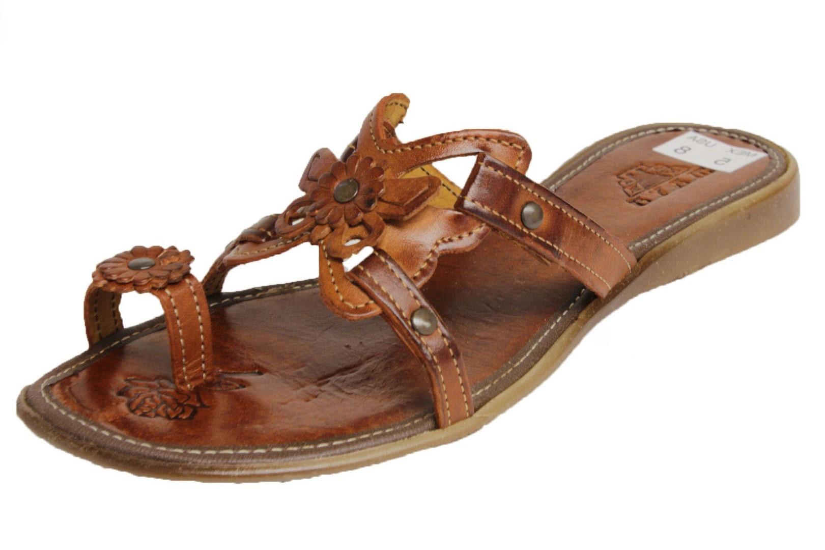 4c0c69c3deab3 Womens Genuine Leather Cognac Boho Slip On Sandals Butterfly Flower ...