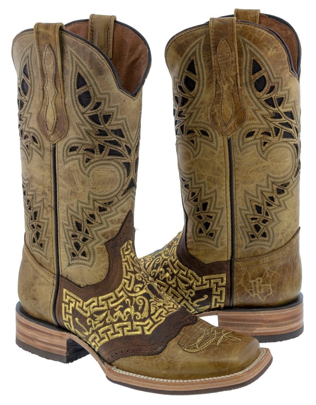 entire collection get online pretty cheap Details about Mens Beige Leather Cowboy Boots Bull Head Embroidery Western  Wear Square Toe