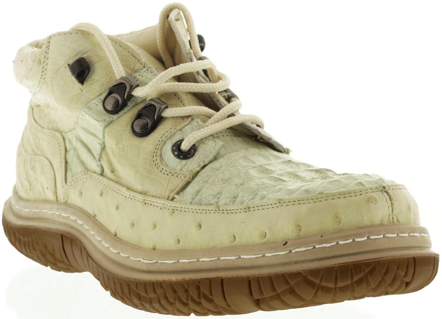 Mens Off White Exotic Genuine Crocodile Skin Casual Shoes Sneaker