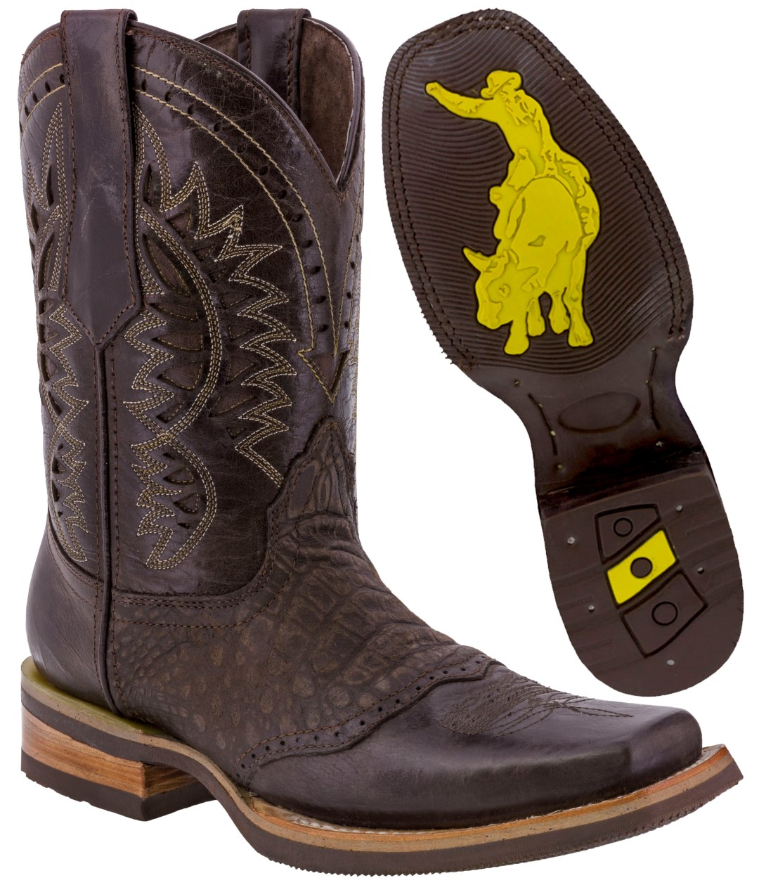 d3a8eaa0e7f Details about Men's Brown Work Western Cowboy Boots Crocodile Print Leather  Pull On Square Toe