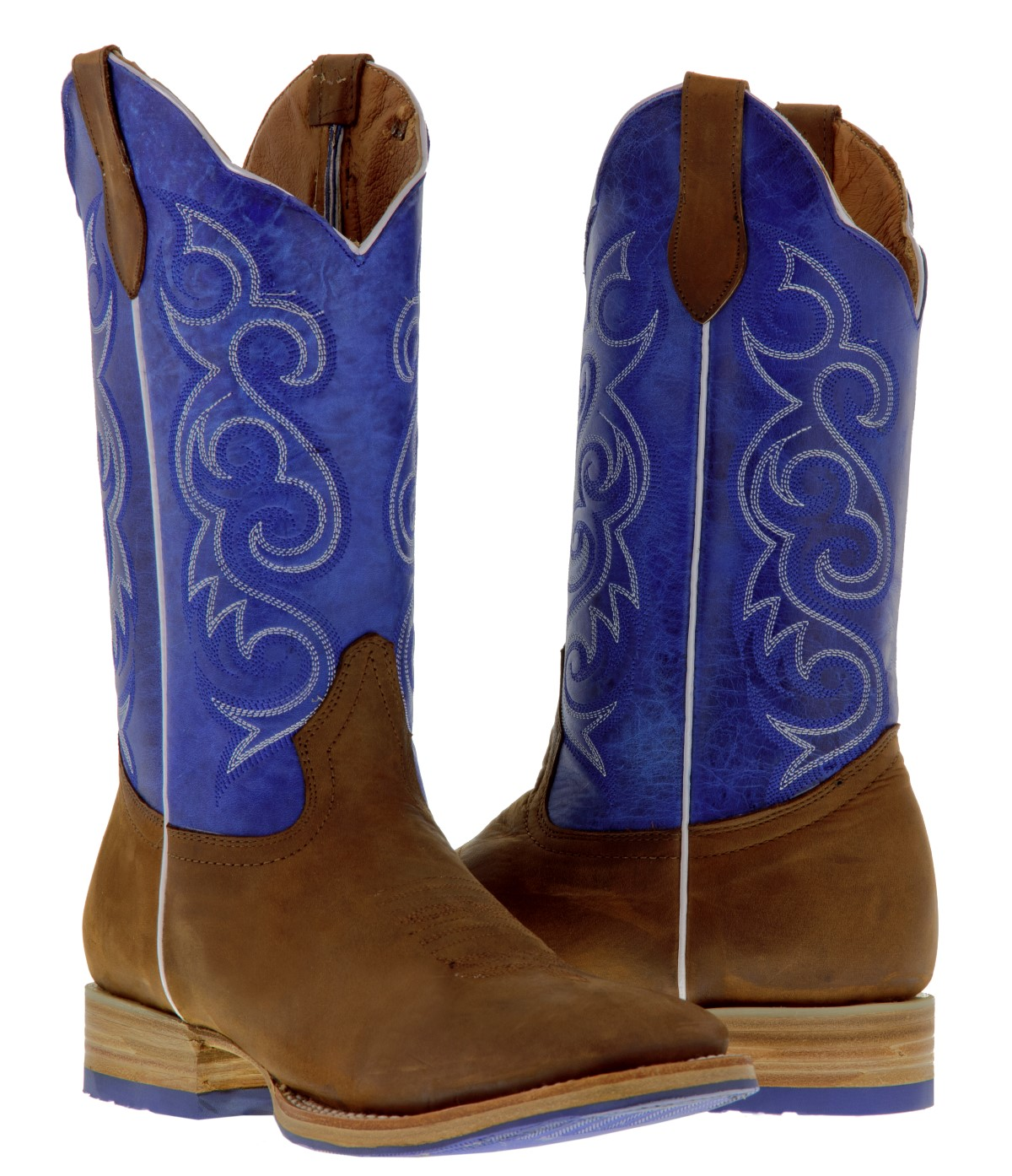 s brown blue western leather cowboy boots rodeo