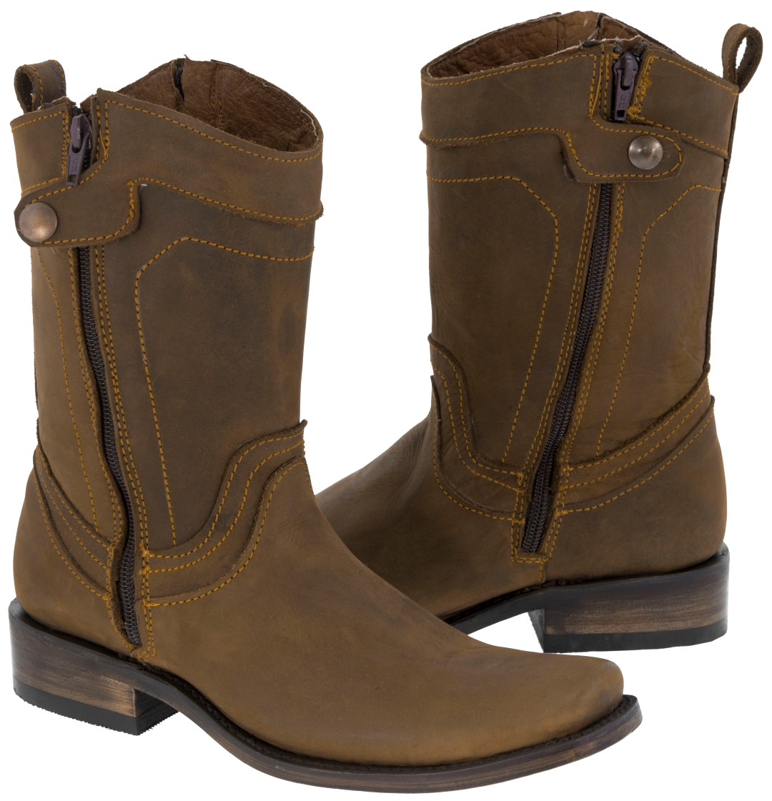 mens smooth brown genuine leather zipper boots western biker riding rodeo boots