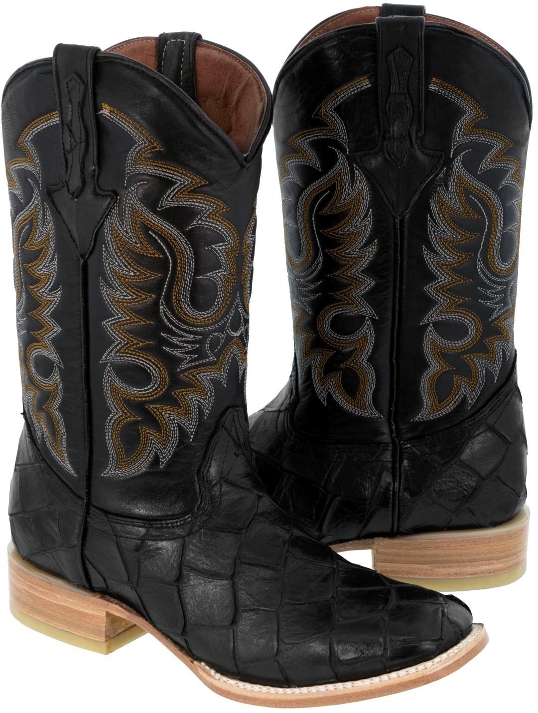 Men 39 s black fish pirarucu design leather cowboy boots for Pirarucu fish boots