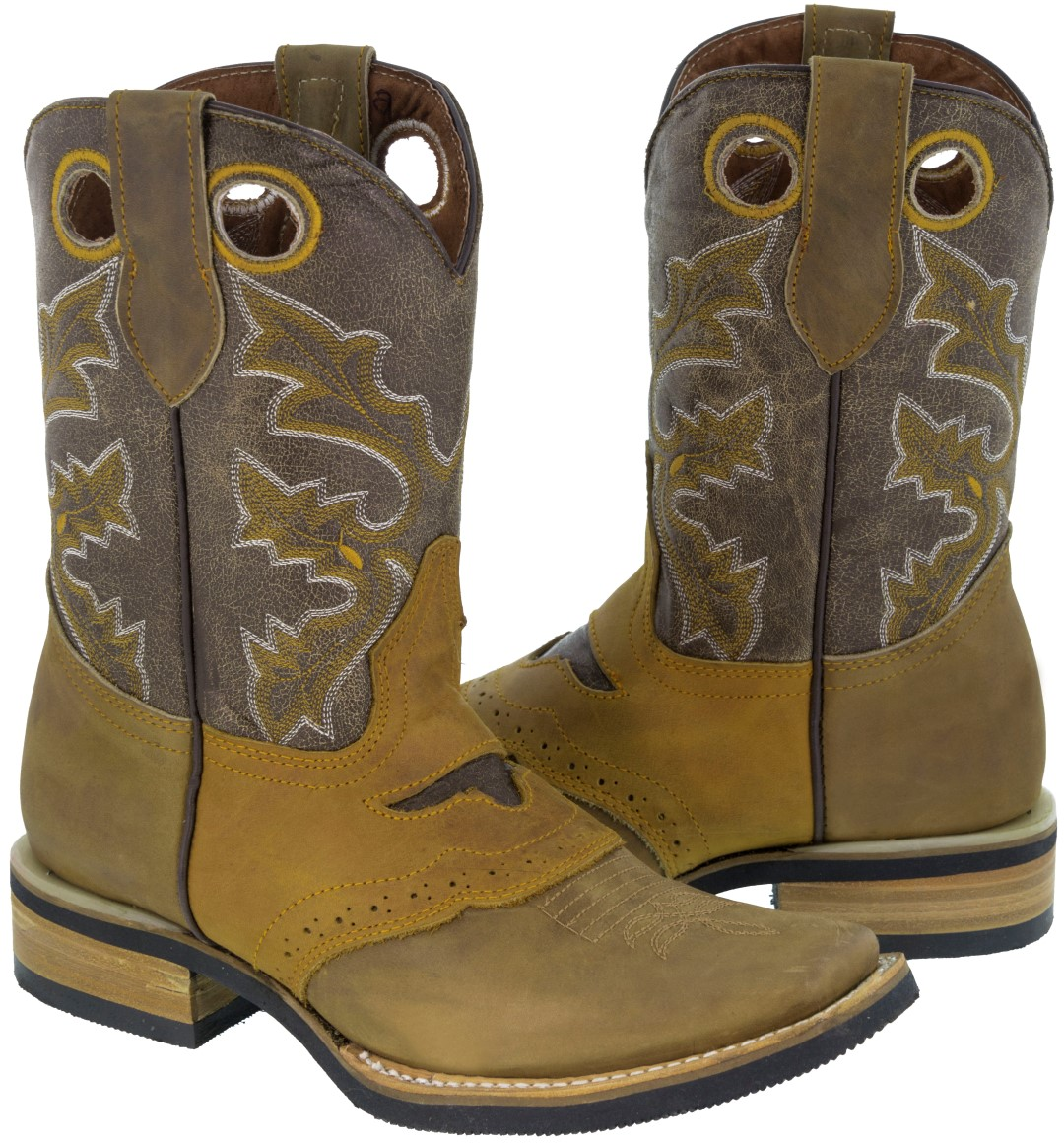 Men's Tan Genuine Saddle Western Cowboy Boots Rodeo Toe Rubber Sole