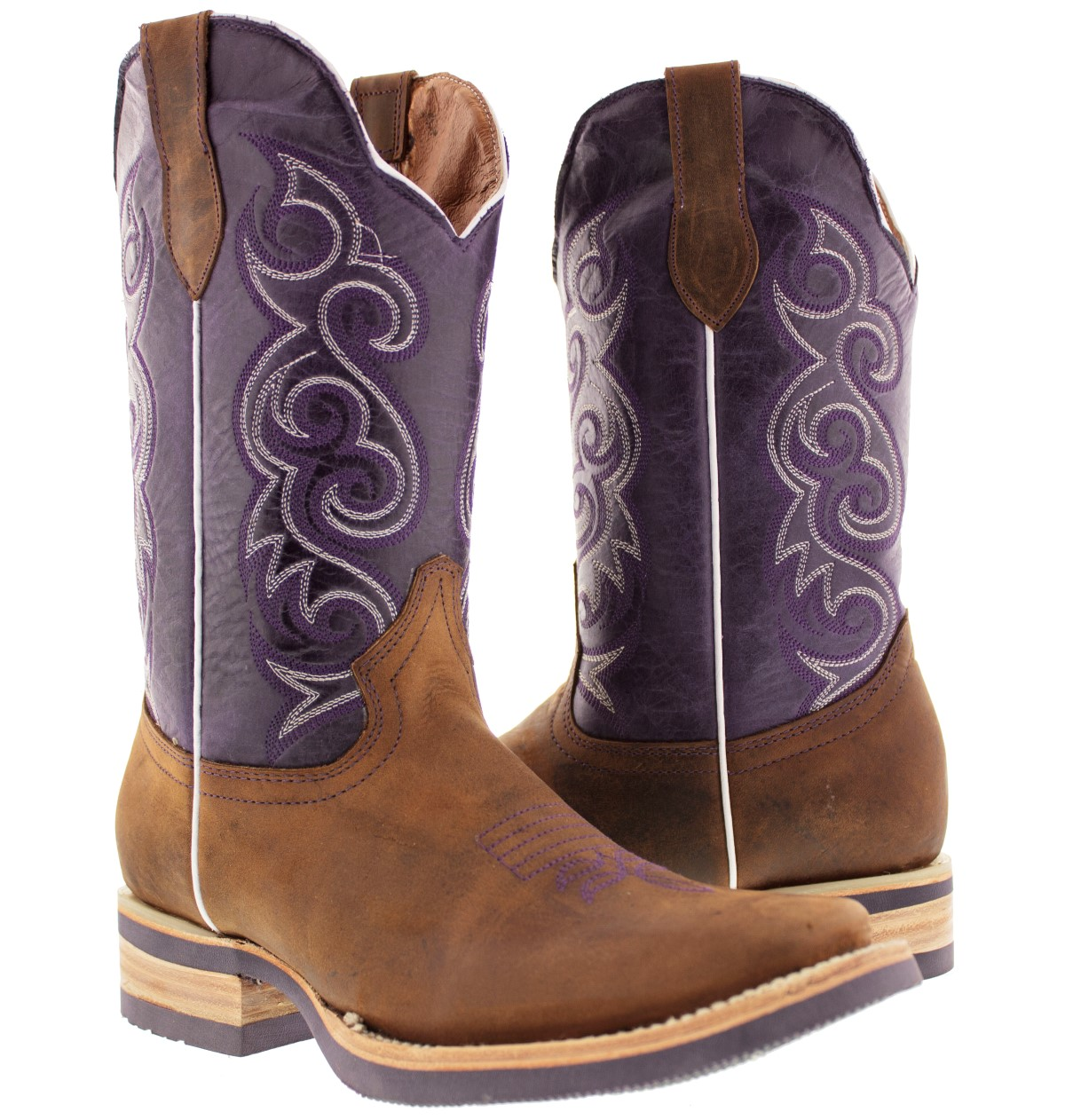 Innovative Ariat Womens Round Up Square Toe Cowboy Boots - Powder Brown