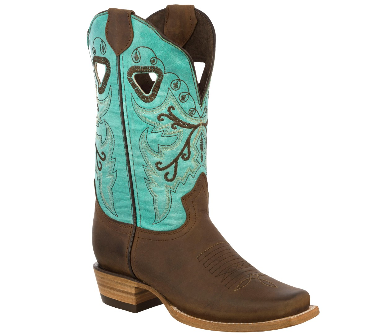 Details about Womens Wide Calf Leather Cowboy Boots Western Dama Botas  Vaquera Turquoise
