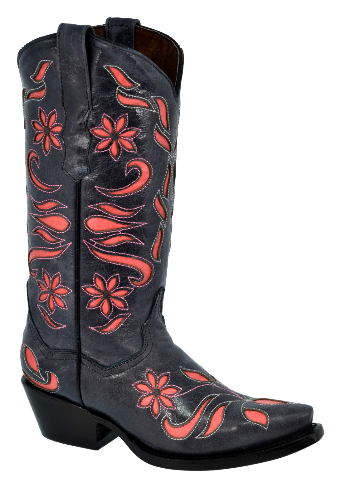 Donna Flower Inlay Western Wear Cowgirl Stivali Pelle Rodeo Rodeo Rodeo Snip Toe 1572d4