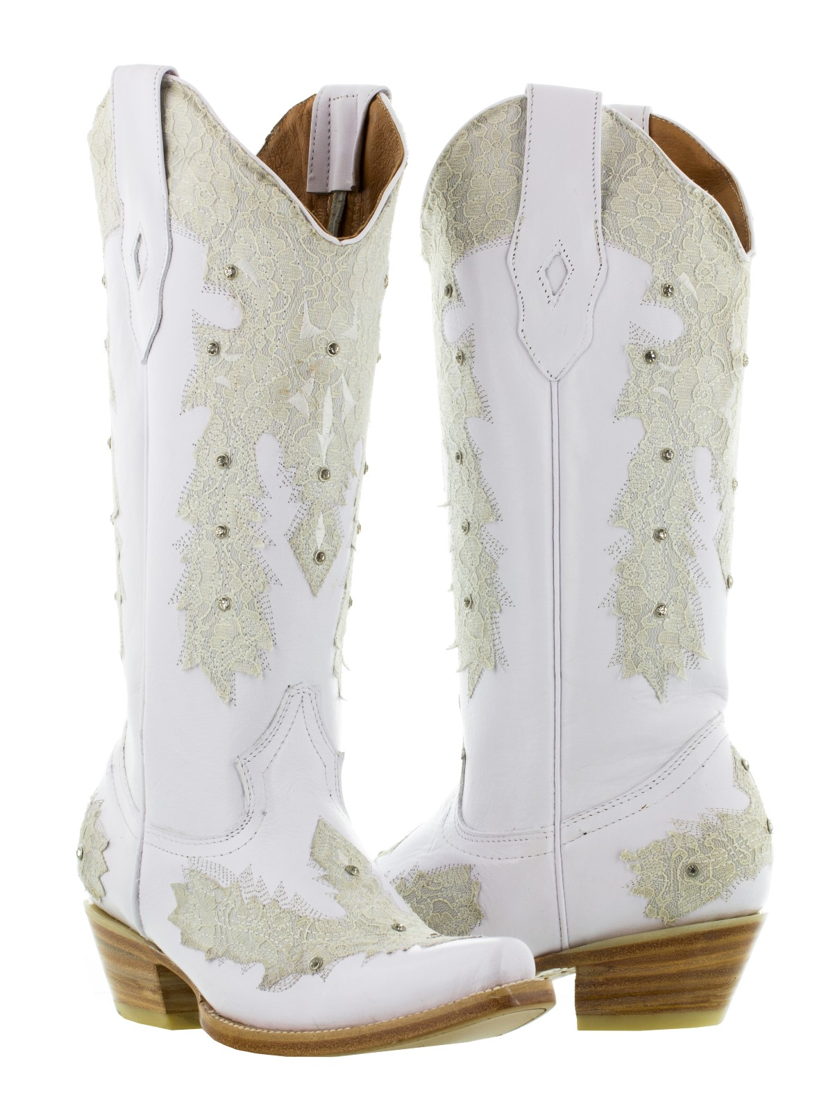 Womens White Leather Western Wear Wedding Cowboy Boots Rhinestones Rodeo Style