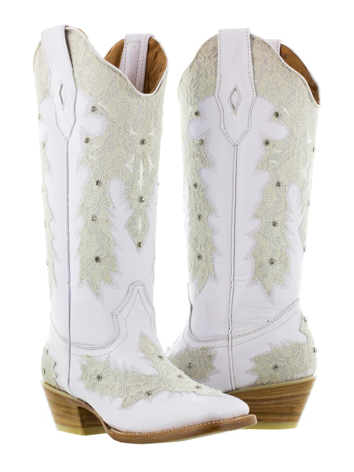 womens white leather western wear wedding cowboy boots rhinestones ...