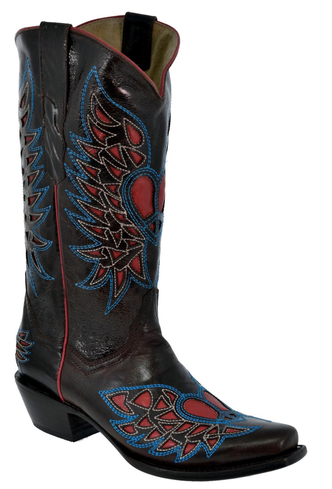Mujeres de cuero diseño diseño cuero de superposición de Alas de Corazón envejecido botas de vaquero Dubai 9310b0