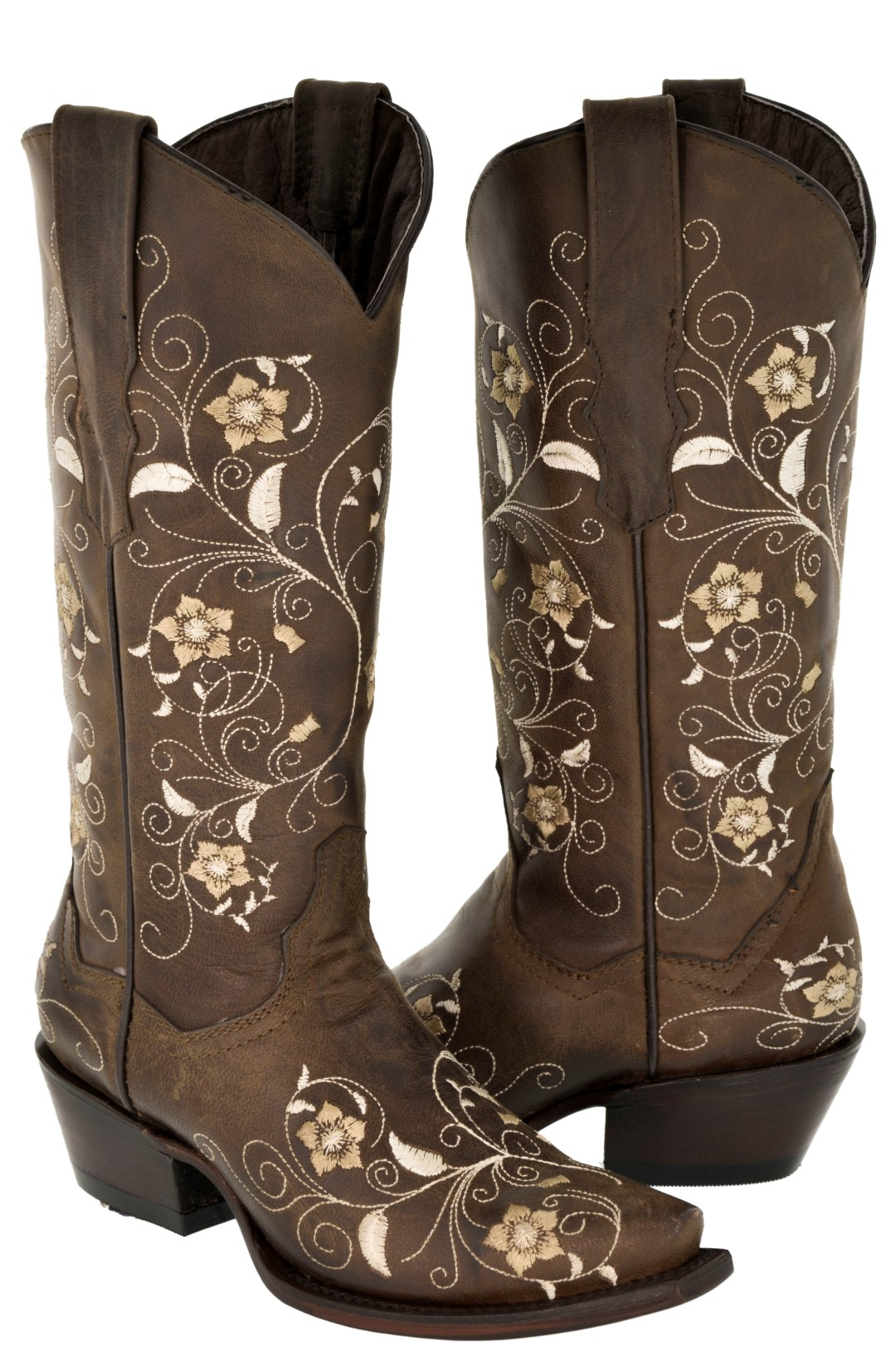 Womens Floral Cowboy Boots Brown Real Leather Western