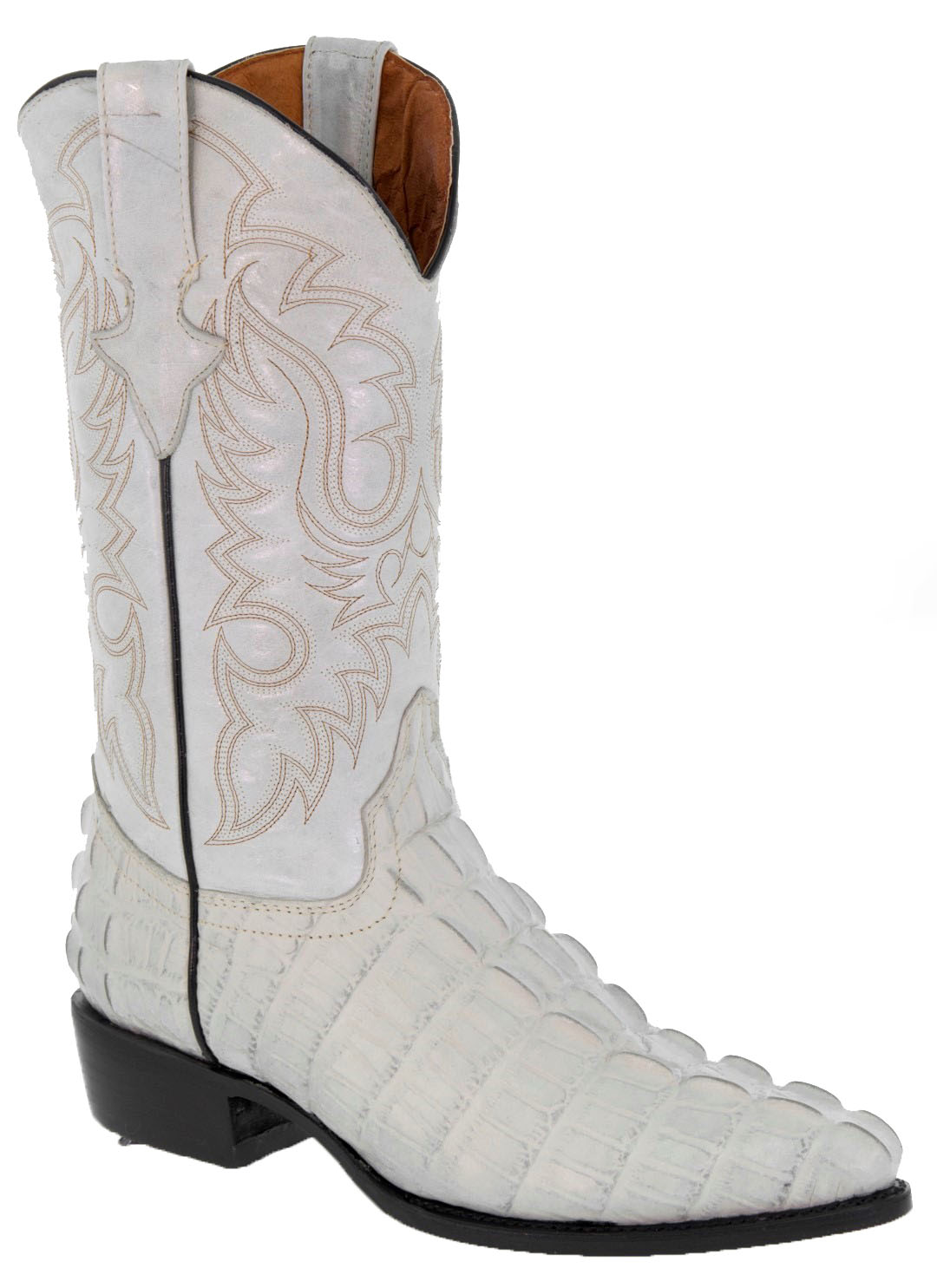 18203d959c50e Mens Crocodile Tail Cowboy Boots Western Wedding Off White Real ...