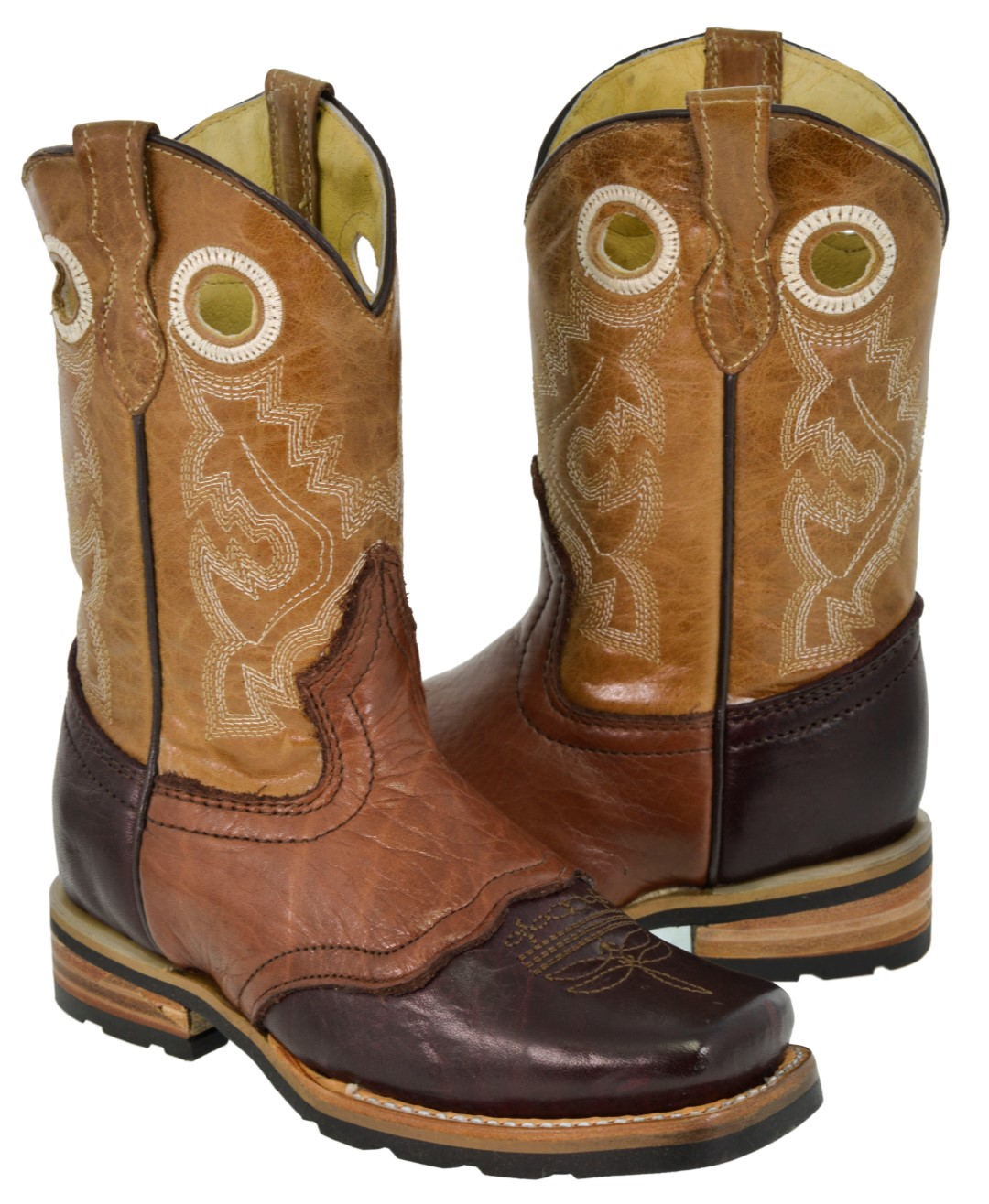 Veretta Boots Kids Toddler Sand Crocodile Tail Leather Cowboy Boots J Toe